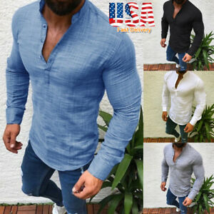 Fashion-Mens-T-Shirt-Long-Sleeve-Linen-Shirts-Casual-Breathable-Soft-V-Neck-Tops