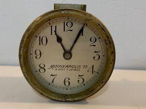Vintage-Minneapolis-Honeywell-77-8-Day-Brass-Clock-Untested