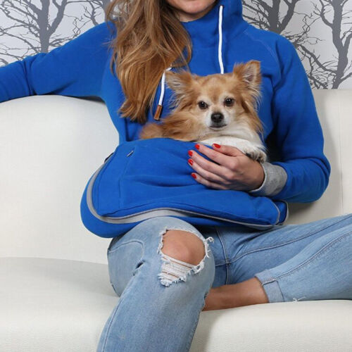 Pet Lover Pouch Hoodie With Cat Dog Carrier Holder Sweatshirt Unisex Casual Size