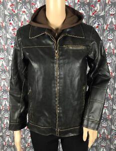 7c16b57a3 Details about Black Rivet Men's Dark Brown Faux Leather Bomber/Moto Jacket  Removable Hoodie Lg