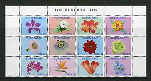 Suriname-2015-Gomma-integra-non-linguellato-FIORI-12v-blocco-impostato-FLORA-Bloemen-FRANCOBOLLI