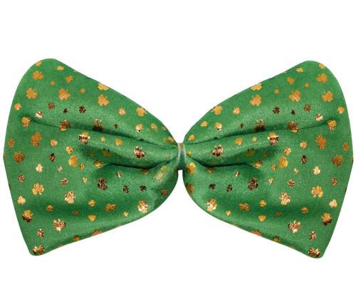 JUMBO SHAMROCK BOW TIE GREEN IRISH ST PATRICKS DAY FANCY DRESS COSTUME ACCESSORY