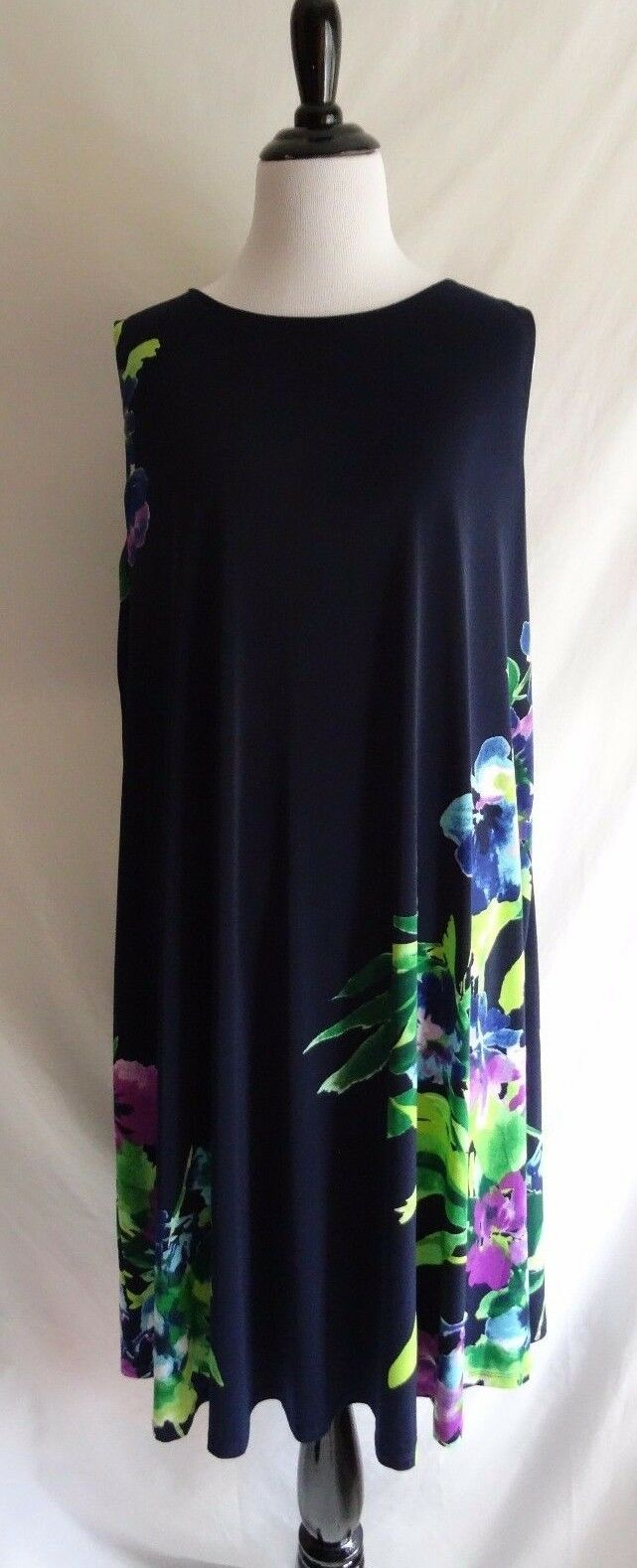 Lauren Ralph Lauren 16W Navy Blau Flower Print Stretch Jersey Shift Dress 16 W