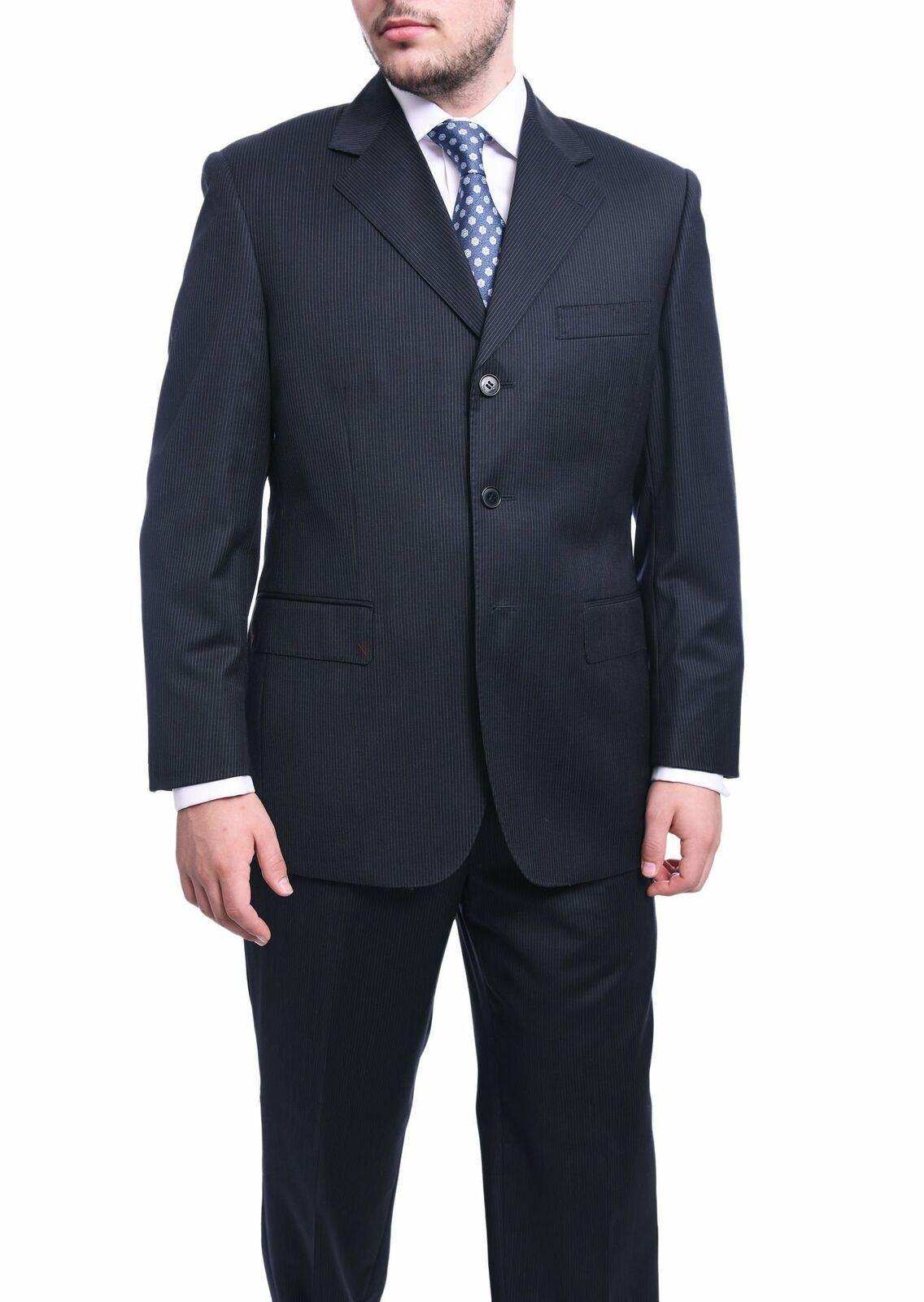 herren 44L Classic Fit Navy Striped Three Button wolleSuit Made In