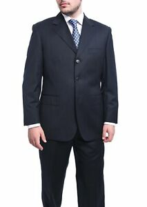 Mens-44L-Classic-Fit-Navy-Striped-Three-Button-Wool-Suit-Made-In-Italy