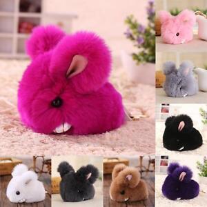 Real Rabbit Fur Fluffy Bunny Keychain Pompom Ball Bag Charm Car ... 8914090c770f