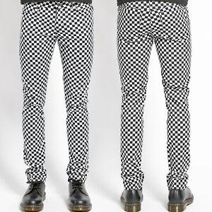 Tripp NYC Punk Rock Men Stretch Denim Skinny Jean Pant Black White Checker 28 30