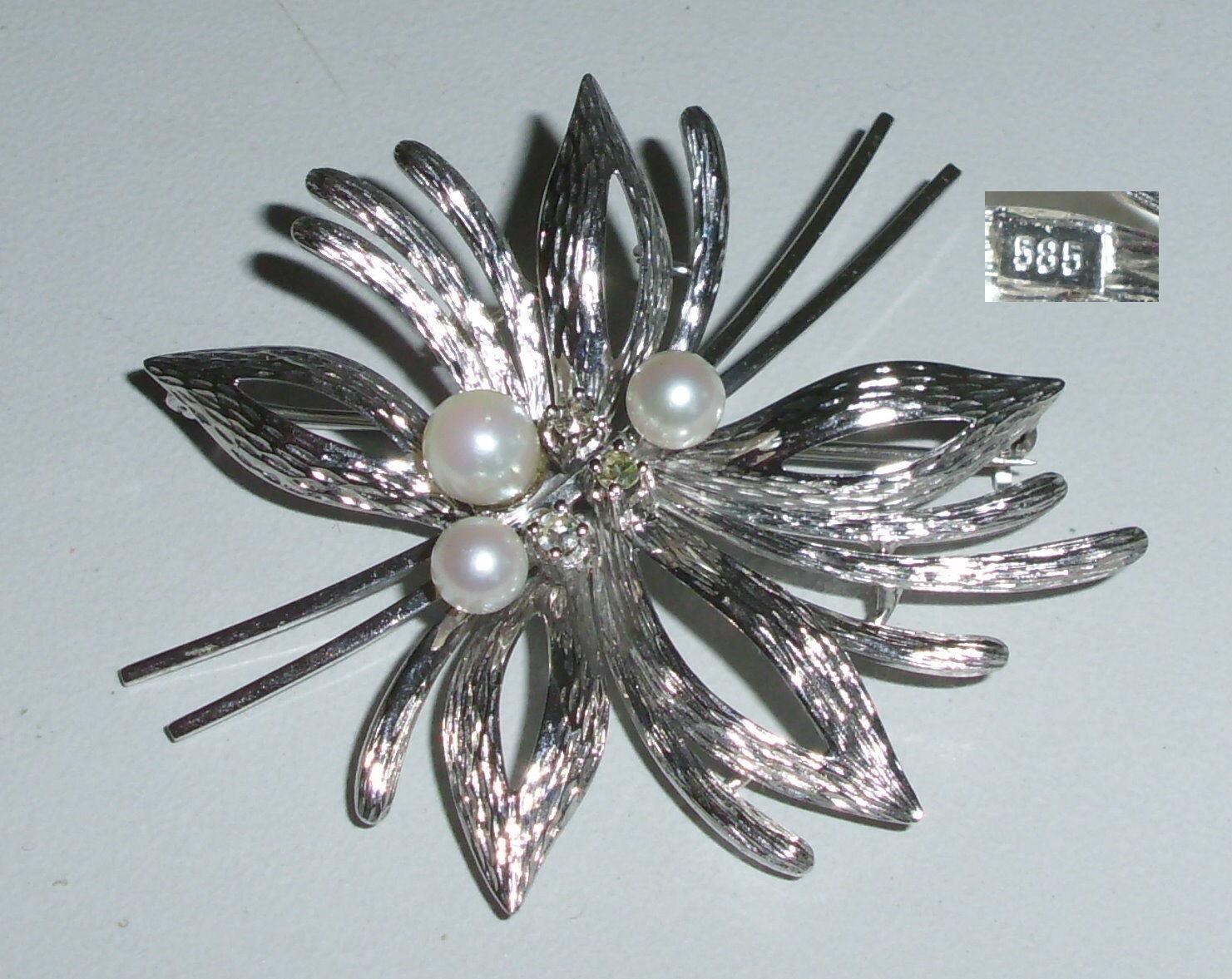 Splendida SPILLA da 585er oro bianco con perle perle perle e diamanti 0 15 CT. (da4233) 4fdb5e
