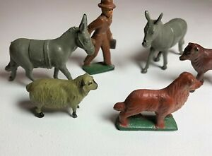 Vintage-Lot-of-6-Lead-Farm-Animals-People-Signed-J-Hill-amp-Co-England-Horse-Dog