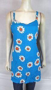 Bali-Girl-Blue-White-Orange-Beach-Cover-Tunic-Top-Dress-Womens-Size-Medium