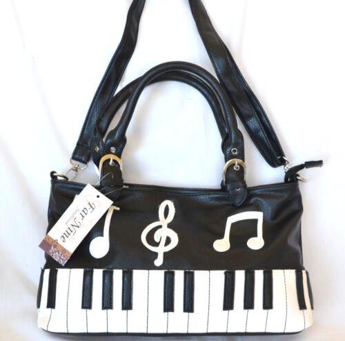 G Crossbodyhandtas Pianokeyboard Muzieknoten Nieuw Zwart sleutel Wit n0OPNX8kw