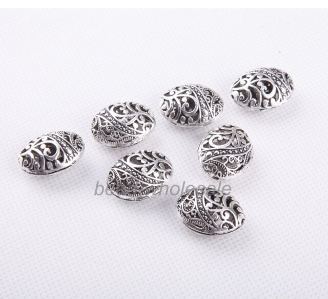 10Pc Chinese  Antique Tibetan Silver Hollow Ellipse Shaped Spacer Finding Beads