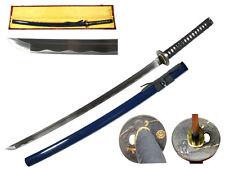 New Dark Navy Blue Hand Forged Battle Ready Samurai Warrior Katana Sword & Case