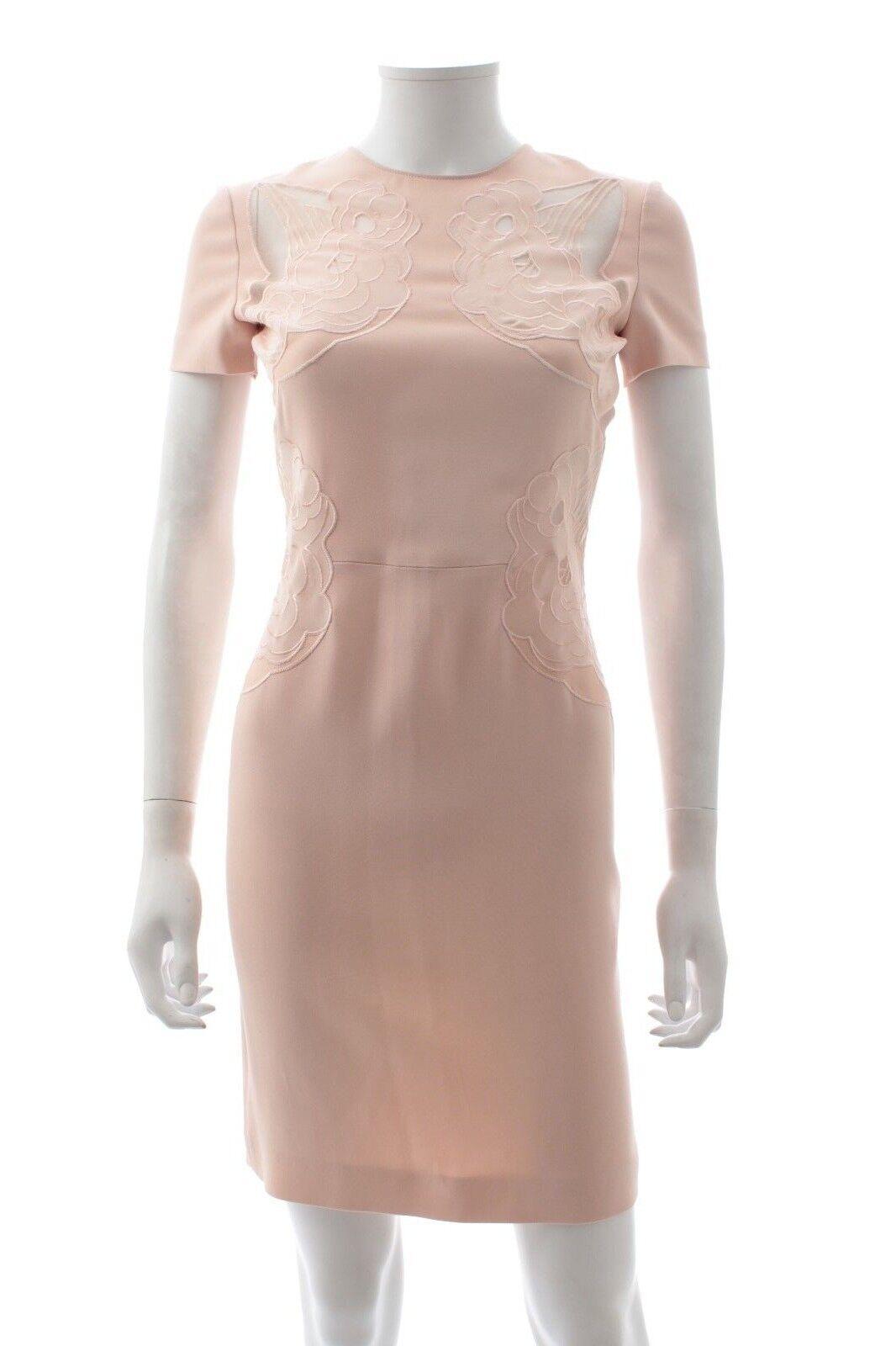 Stella McCartney Embroidered Short Sleeved Crepe Dress   bluesh Pink