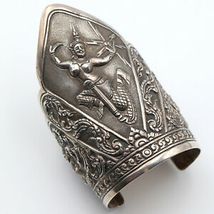 Large-Vintage-Sterling-Silver-Siam-Thai-Dancer-Cuff-Bracelet-94-5g