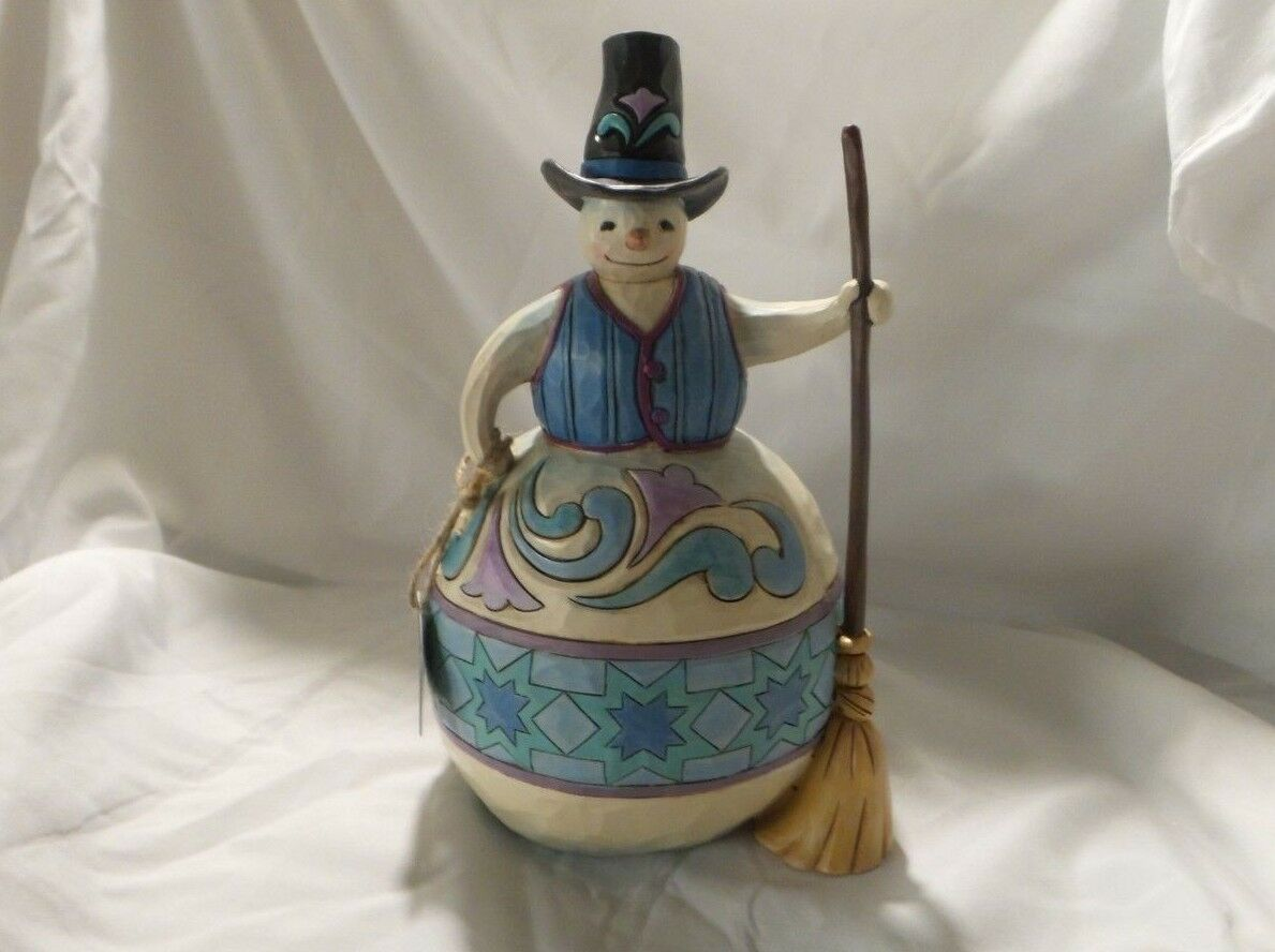 JIM SHORE'S SNOWMAN WITH TOP HAT & BROOM FIGURINE  ROLLING BY TO SAY HELLO