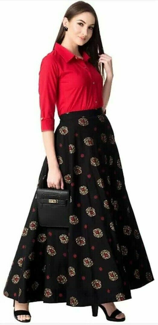 Ready Made Indian Pakistani Kameez with skirt,Women Shirt with Ethnic skirt dres