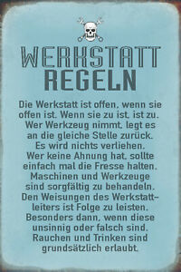 Werkstatt Regeln Blechschild Schild gewölbt Metal Tin Sign 20 x 30 cm R0537