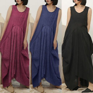 UK-Frauen-aermellos-AUF-SEE-MUNITIONSKISTE-Tunika-Shirt-MAXI-Tank-Kleid-Sommer-Pumphose-Sundress