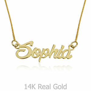 7bc8c753770d3 Details about 14K SOLID YELLOW GOLD Name Necklace Personalized Pendant  Spiga Chain Custom Gift