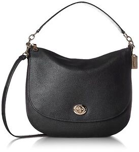 Coach 36762 Turnlock Black Leather Shoulder Hobo Bag