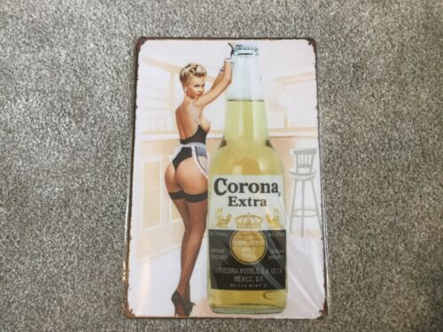 VINTAGE RETRO STYLE METAL TIN SIGN POSTER CORONA EXTRA LADY BAR CAVE  WALL HOME
