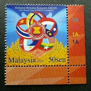 SJ-Malaysia-Joint-Issue-Of-ASEAN-Community-2015-Bird-Flag-stamp-plate-MNH