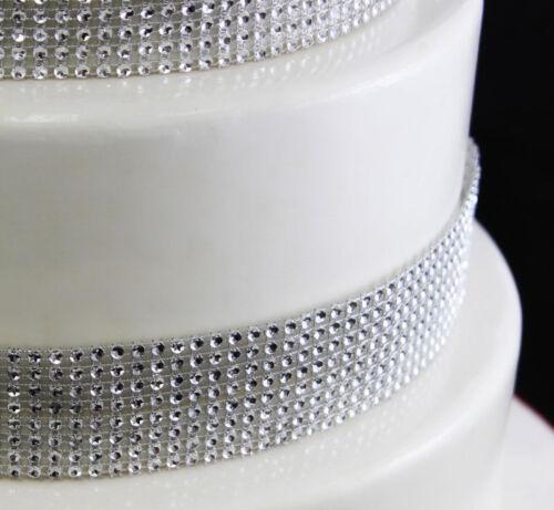Metre SILVER Diamonte Sparkling  Diamond Effect Wedding Cake Ribbon Band 1 2 3 4