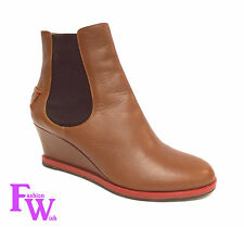 FENDI 8T4116 Tronchetto Cuoio Size 37 Brown Leather Wedge Ankle Boots 7 w/ bag