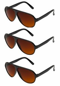 44cbfb2f16 3 PAIR Aviator BLUE BLOCKER Sunglasses with Amber Lens Driving ...