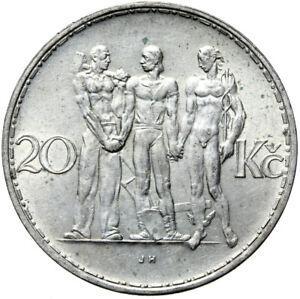 Tschechoslowakei-Muenze-20-Korun-1934-Maennergruppe-Silber