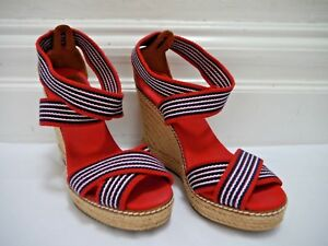 5f2f6c08b2f Details about TORY BURCH Adonis red blue stripe canvas espadrille wedge  sandals size 8