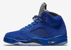 d069ea33a613da Nike Air Jordan 5 Retro Royal Blue Suede Black Flight Suit V Aj5 ...