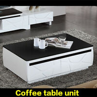 Coffee Table High Gloss With Drawer Home Office Furniture Stylish Modern