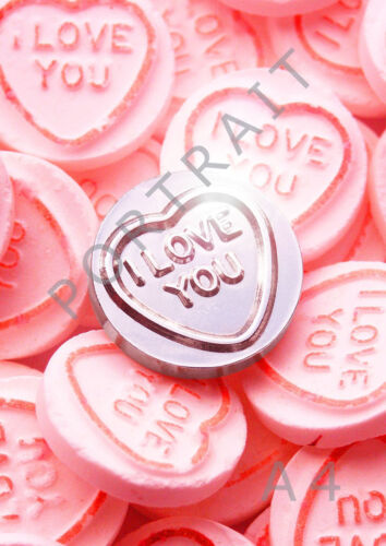 Amor Corazón Dulces Te Amo Amor Plateado Print-Varios Tamaños-Idea de Regalo