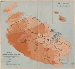 Details about SIEGE OF MALTA. Malta showing airfields in spring 1941. World  War 2 1956 map