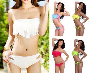 Sexy-Women-039-s-Bandeau-Tassel-Bikini-Set-Padded-Push-Up-Bra-Swimsuit-Swimwear