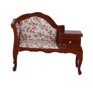 wooden fabric telephone seat hall accessory dolls house furniture