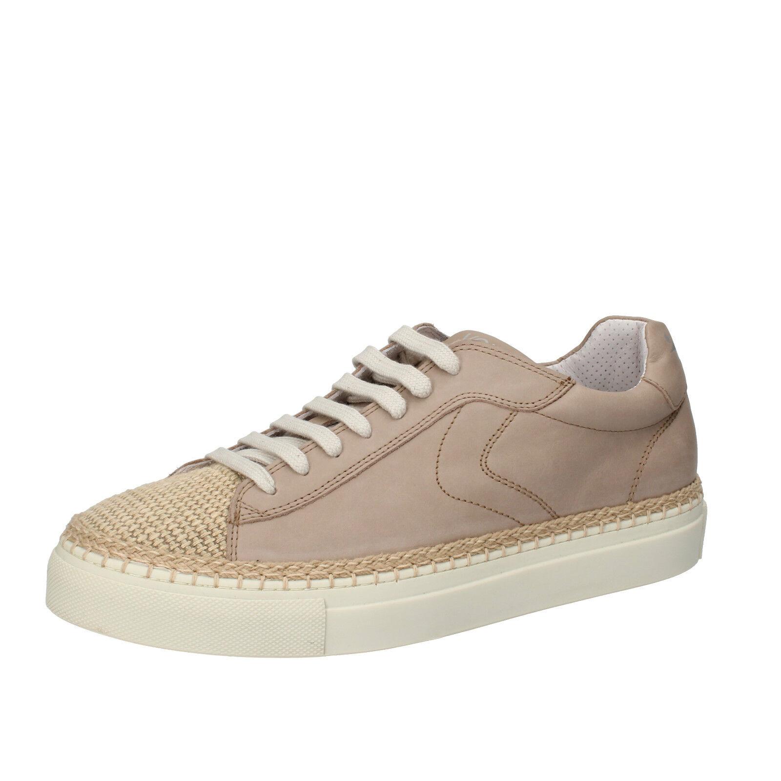Herren schuhe VOILE BLANCHE 45 EU Sneakers beige leder Textil AC600-H