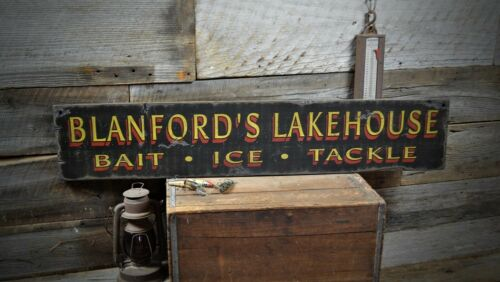 Rustic Hand Made Vintage Wooden Sign ENS1000406 Custom Bait Ice /& Tackle Sign