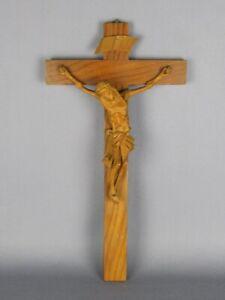Crucifijo-de-Pared-con-Estatua-Jesus-039-de-Madera-Tallada-a-Mano-Xx-Sec
