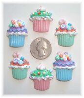6pc Easter Cupcake Candies Flatback Resins Flat Back