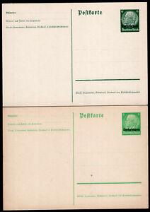 LOTHINGEN ALSACE-LORREINE GERMAN OCCUPATION TWO PS STATIONERY POSTAL CARD 1940