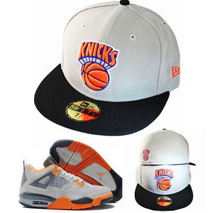 New-Era-NBA-New-York-Knicks-5950-Grey-Fitted-Hat-Air-Jordan-4-Grey-Orange-Cap