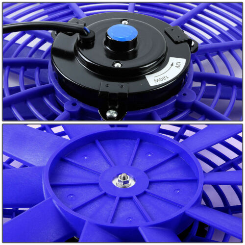 """UNIVERSAL BLUE 2X16/"""" PERFORMANCE ELECTRIC RADIATOR COOLING FANS ASSEMBLY KIT"""
