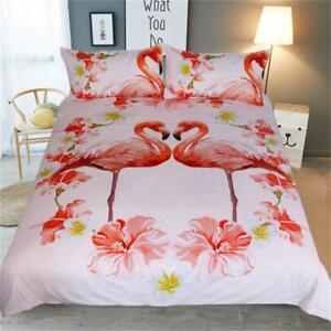 Flamingo-Duvet-Cover-Pillowcase-3Pc-Bedding-Set-Quilt-Cover-Wonderful-Worthy-Hot