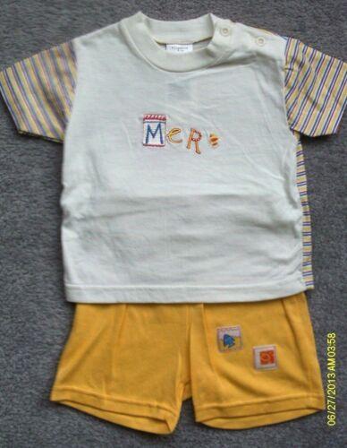 3-6//6-12 Mths-Amarillo//Crema Mer T SHIRT//conjunto corto