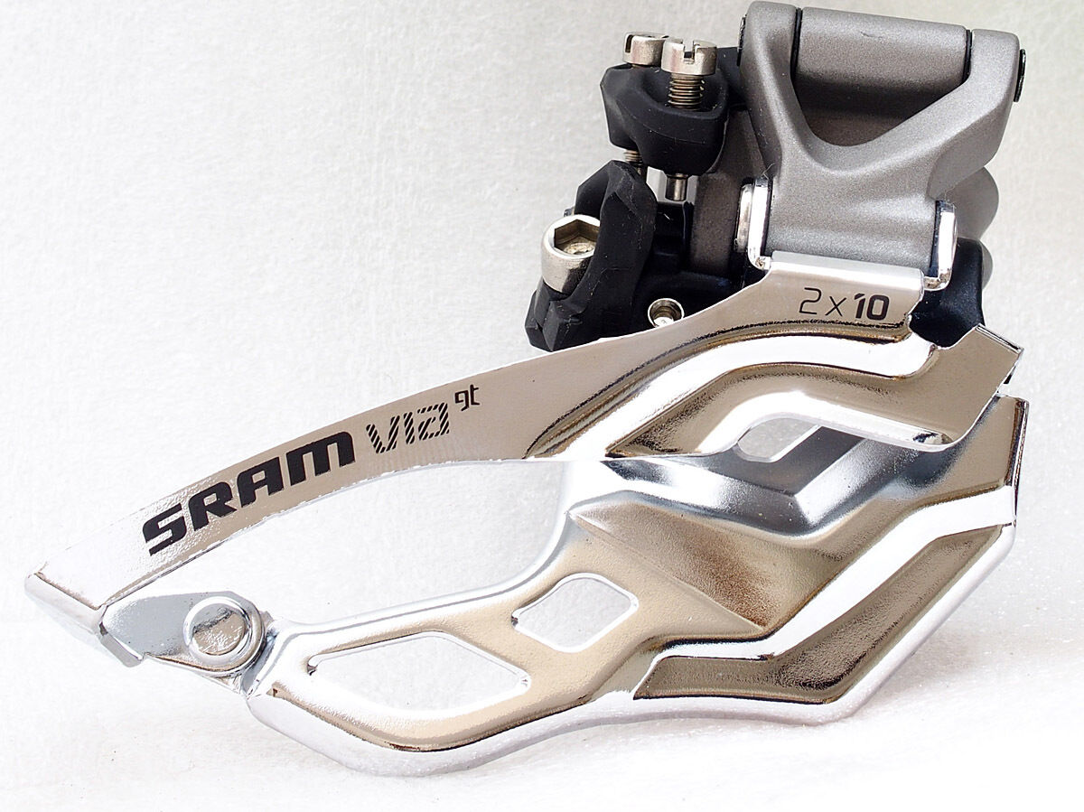 SRAM VIA GT Front Derailleur, 2x10 Spd, 31.8mm 34.9mm, High Clamp, DualPull Grey