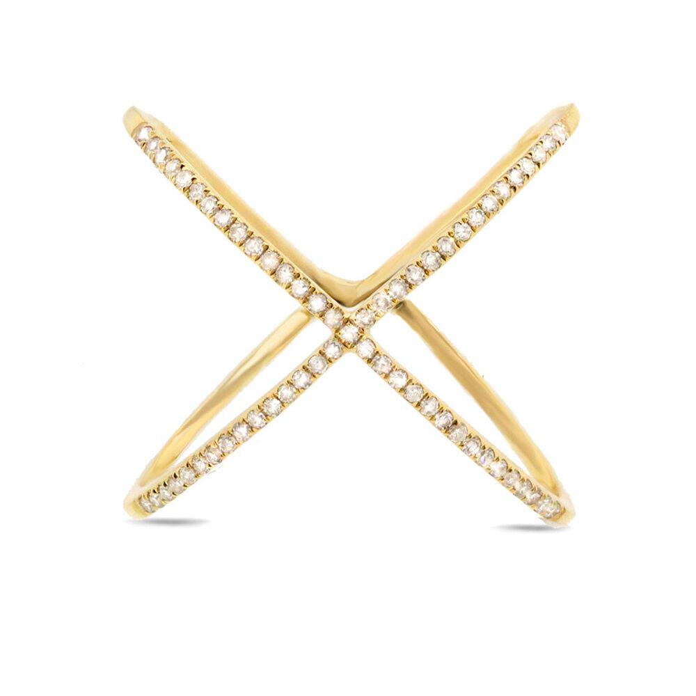 0.17CT 14K oro Giallo Diamante rossoondo Crossover Cocktail Fashion da da da Esposizione 1f8dd6