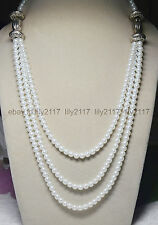 """fashion! 6mm White Shell Pearl Tibet silver 3 Rows Jewelry Necklaces 17-20"""""""